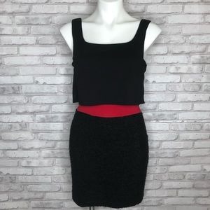 Bailey 44 layered black and red mini dress, Small